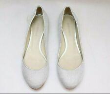 Jil Sander Metallic Silver Leather Women's Flats Shoes US 6