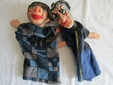 VINTAGE HAND PUPPETS hand painted / vinyl / rubberised? SCARY !