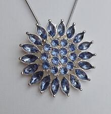 Halskette Anhänger 4 cm Sonne Blume Strass hell blau *NEU*