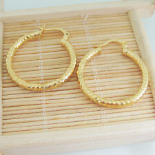 "ROUND SHINNING 18K YELLOW GOLD GP HOOP DIMENSION 30*33mm 1.18""*1.3"" EARRING"