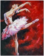 Hand Painted Ballerina Oil Painting 60x50cm - Impressionist Ballet Dancer Art