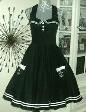 Hell Bunny Vixen Cotton Sailor Dress Full Skirt Dress Size S