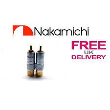 2x un. 24k Nakamichi Rca Jack Plug Locking Conector 10mm ** Reino Unido **