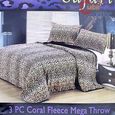 Leopard Queen Bedspread Blanket 2 Pillow Cover 3pc Cheetah Bedding Set Faux Fur