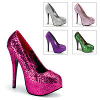 PLEASER TEEZE 06G BORDELLO BURLESQUE GLITTER STILETTO HIGH HEEL PLATFORM SHOES