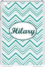 Monogrammed Multi Teal Green Chevron Design on iPad 2/3/4 Black/White Case Cover