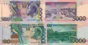 Sao Tomé and Principe 2 PCS Set: 5000 & 10000 Dobras (1996) - p65b/p66b UNC