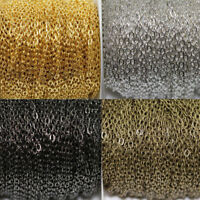 5M Silver/Gold Plated Cable Open Link Iron Metal Chain For Jewelry Finding DIY