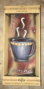 New View Demensional Ceramic Colorful Mocha Coffee Wall  Plaque in box