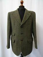 Men's Vintage Dunn & Co Green Checked Harris Tweed Jacket Blazer 40R