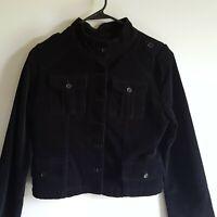 Westbound Women's 10 Jacket Coat Corduroy Military Black pockets Button