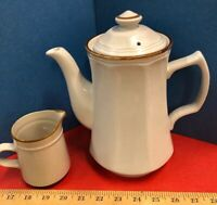 Vintage White Hand Painted Stoneware Tea Server & Creamer Japan Restaurant Panel