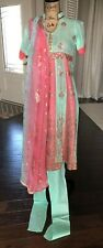 Pakistani Shalwar Kameez Churidaar Cotton Green Pink Womens
