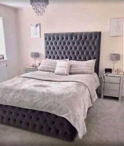 Diamond Style Bed Frame Upholstered in a plush Velvet  - UK HANDMADE