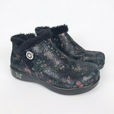 ALEGRIA Meri Sweetie Ankle Boots Water Resistant Floral Leather Faux Fur Size 38