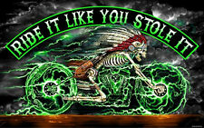 SKELETON CYCLE RIDE STOLE  MOTORCYCLE FLAG (3' X 5') BIKER FLAG