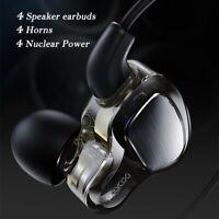 Quad Core Dual Dynamic Driver Earbuds Sport Wired Earphones, HiFi Bass Headphone
