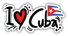 I Love Cuba Flag Slogan Car Bumper Sticker Decal 6'' x 3''