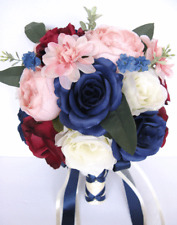 17 piece Wedding Bouquet package Bridal Silk Flowers NAVY PINK BLUSH BURGUNDY
