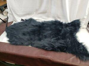 Style Selections Faux Fur Black Decorative Rug  2-ft W x 4-ft L