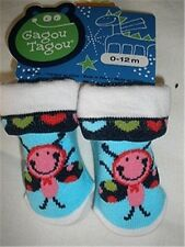Size 0-12 Months - Gagou Tagou Baby Socks - Teal Blue & White with Print