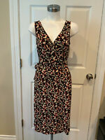 BCBG Max Azria Black Dress W/ Pink Leaf Pattern, Size Small