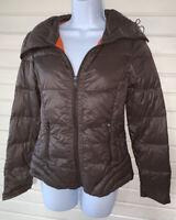 Peace Love Chill Sz MEDIUM Packable Lightweight Down Puffer Jacket Brown EUC