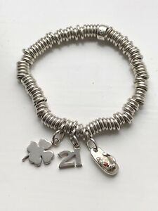 Links Of London Solid Silver Sweetie Bracelet With 3 Charms Hallmarked