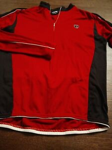 PEARL IZUMI Men's 3/4 ZIP 100% Polyester Xtra Large RED LS Cycle/ Cycling Shirt