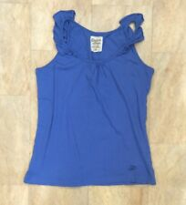 New Look Blue Organic Cotton Sleeveless Vest Top Summer Holiday Frills Size 12