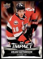 2019-20 UD AHL AHL Impact #I-2 Drake Batherson - Belleville Senators