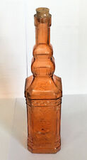 Vintage New Decorative Orange Glass Bottle with Cork - Fall & Holiday - Crafts