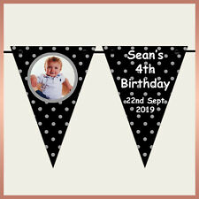 Personalised KIDS POLKA DOT Photo BUNTING Banner - Birthday Party Christening