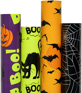 Gift Wrapping Paper Rolls - Colorful Halloween Wrap Design - 4 Rolls - 30