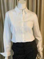 AK Anne Klein White Work Career Top Long Sleeve Collar Blouse Shirt NWT