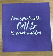 "Purple Pillow Case Time Spent With Cats Cushion Size 16""x 16"""