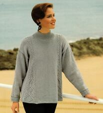 Knitting Pattern Lady's Fab DK Shaped Sweater with Cable Insets 76-102 cm   (35)