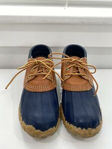 VTG Womens LL BEAN Maine Hunting Shoe Gumshoe Snow Rain Boots Tan/Navy Blue 7M