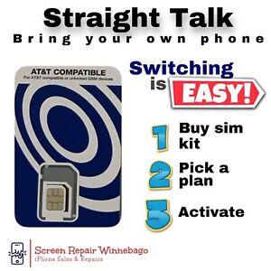 Bring your own Phone - Straight Talk (BYOP) Triple-Cut SIM (GSM) SIM card Only