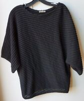 BOTTEGA VENETA BLACK PERFORATED WOOL/CASHMERE TOP - SIZE 40