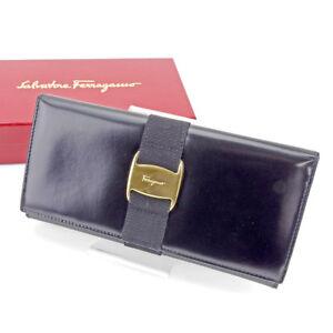 Salvatore Ferragamo Wallet Vera Black Gold Woman unisex Authentic Used L2007