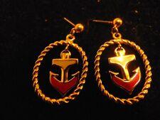 "AVON Nautical Enamel & Gold Tone Anchor Earrings 1 1/2"" Pierced Style"