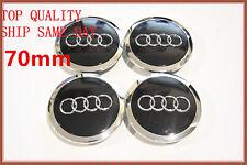 4 Pcs, Audi, Black, Chrome Logo Center, Wheel Hub Cap, 70mm, A3, A4, A5, A6, S4