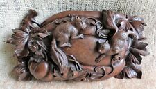 "Vtg Rosewood Handcarved WallPocket Vase Squirrels Pumpkin Chinese 10""x5"" -Estate"