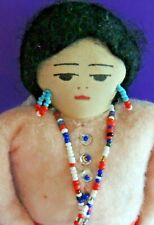 Vintage Native American Cloth Ink Face Doll Hand Made 11""