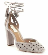 NEW LAUREN RALPH LAUREN Sz10US VERNA LEATHER HAIRCALF CUTOUT DRESS PUMP IN GREY