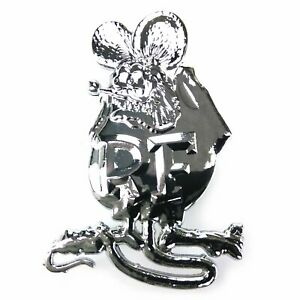 RAT FINK CHROME EMBLEM MUSCLE Car Badge CARTOON HARLEY ED ROTH KUSTOM KULTURE V8