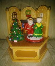 Narco Christmas Santa Mrs Claus Music Box Spinning Dancing Dec 24 Tree Fireplace