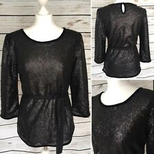 Ladies Black Sequin Tie Waist 3/4 Length Sleeve Party Top By Darling Size Large