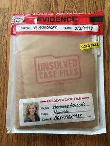 UNSOLVED CASE FILES Harmony Ashcroft Cold Case Murder Mystery Game Crime Wedding